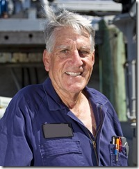 Chief Petty Officer Electronics Technician Len Bilton celebrates 50 years in the navy, making him the navy's longest serving current sailor, Devonport, Auckland, New Zealand, Thursday, February 17, 2011.  Credit: NZPA / David Rowland